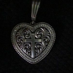 Silver heart and cross pendant with rhinestones